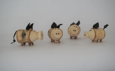 Glücksschweinchen aus Holz für Silvester!
